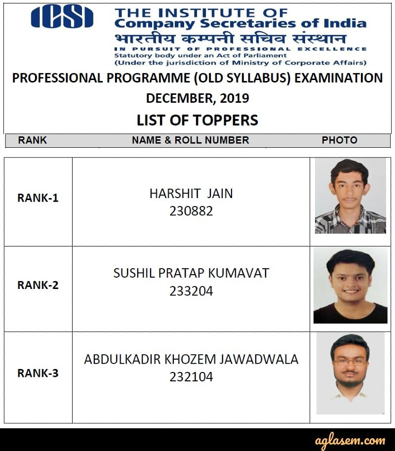 CS Professional 2019 Old Syllabus Top 3 Rank Holders