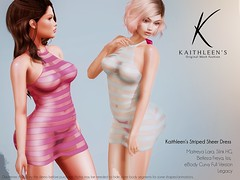 Kaithleen's Striped Sheer Mini Dress Poster web