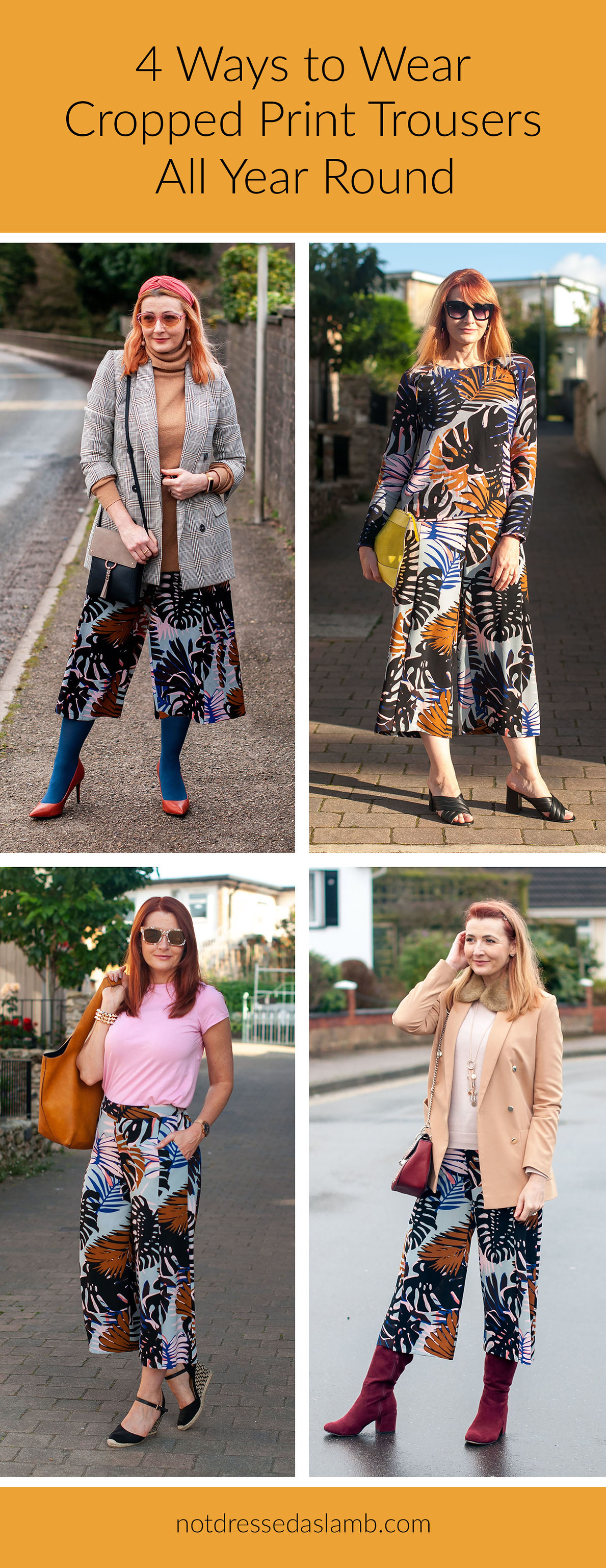 4 Ways to Wear Cropped, Palm Print Trousers | Not Dressed As Lamb, Style Over 40