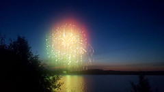 Fireworks over lake Kolsnaren, Södermanland, Sweden