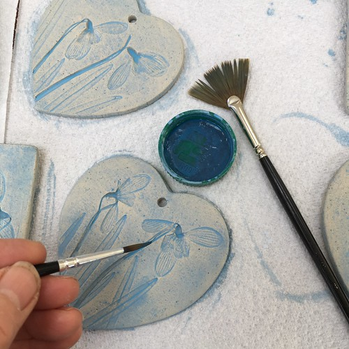 staining ceramic snowdrop hearts