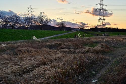 tower sunset dusk goldenhour nature sky orange clouds skyline silhouette grass landscape