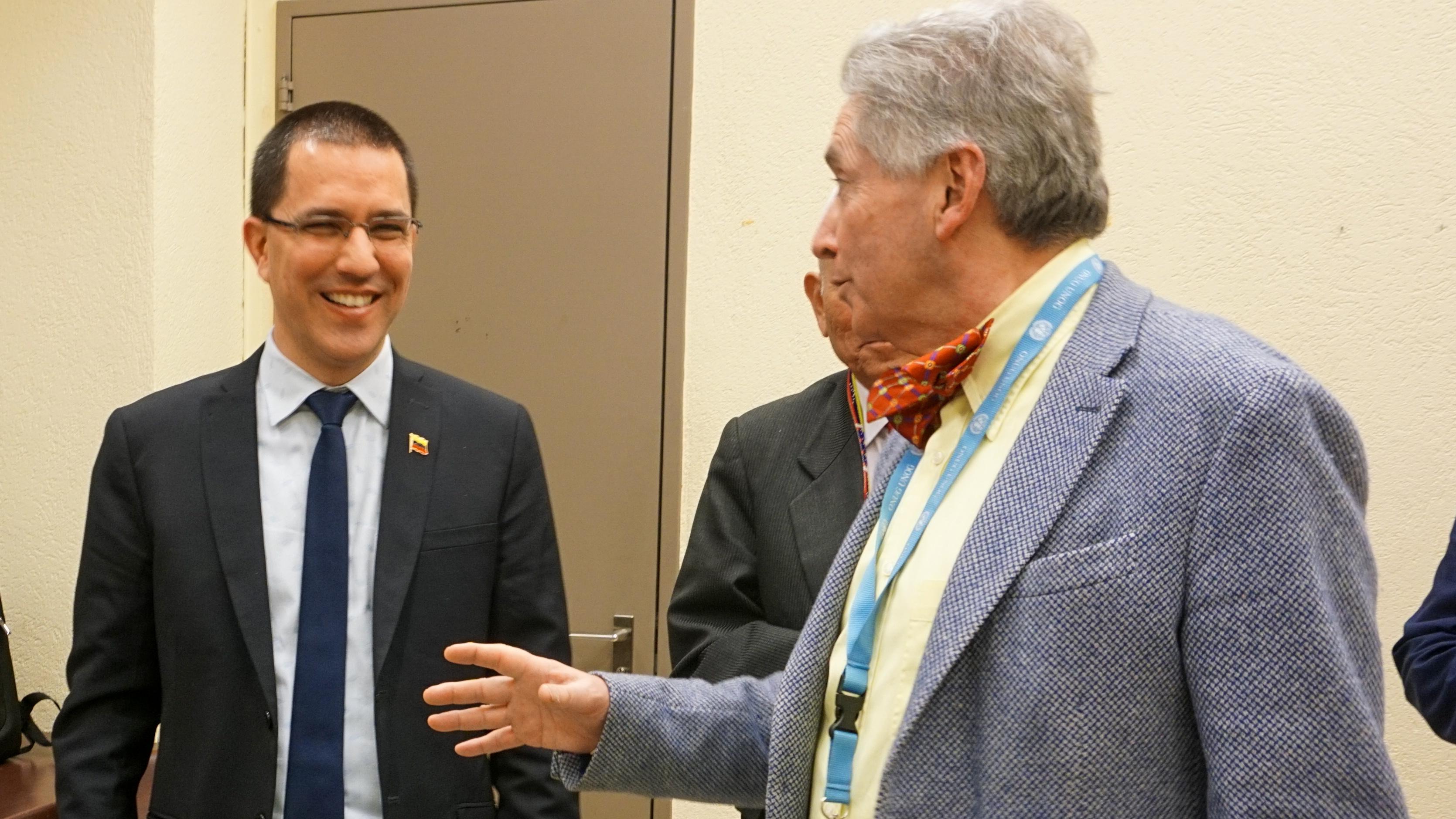 Canciller Arreaza se reúne en la ONU Ginebra con experto independiente en DDHH Alfred de Zayas