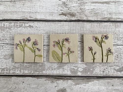 Rustic ceramic flower tiles
