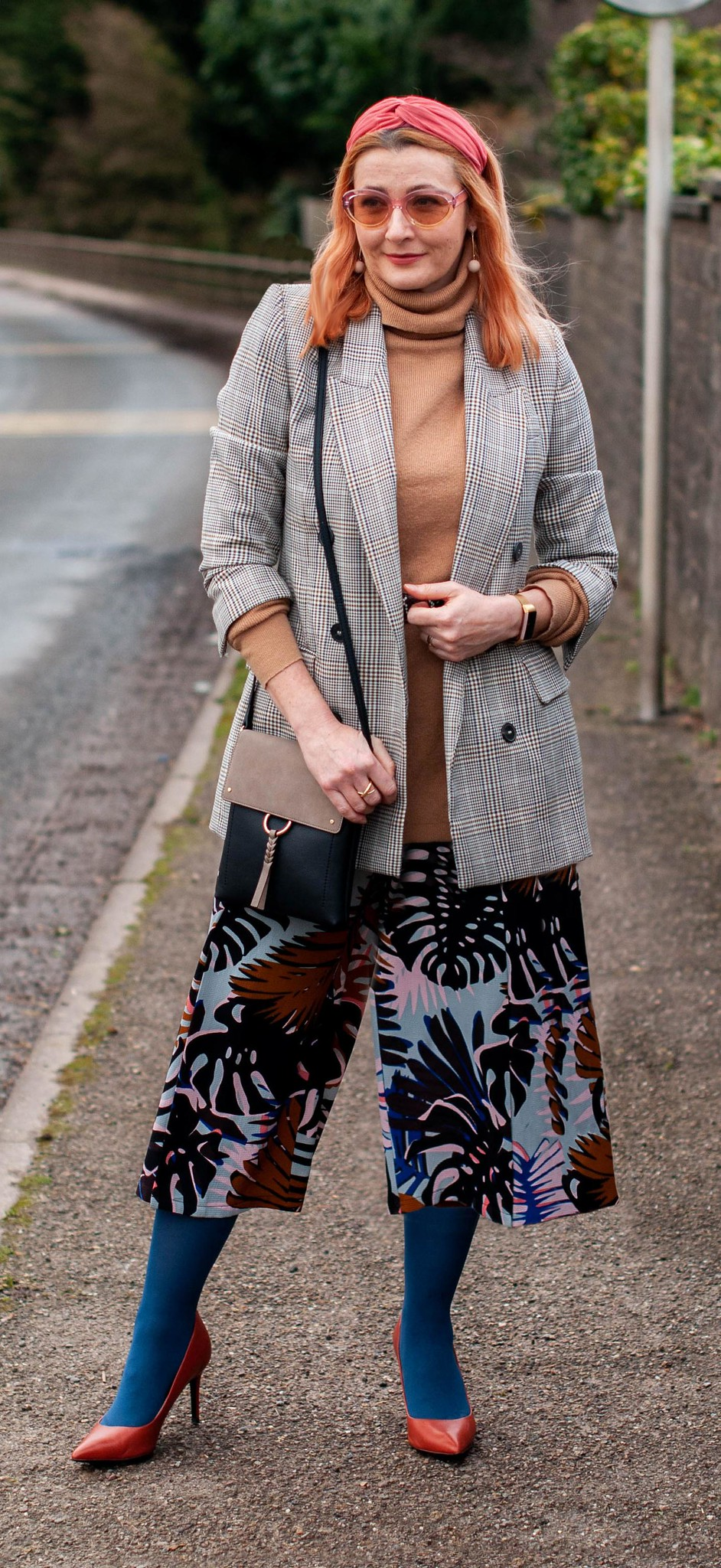 How to Mix Summer and Winter Prints: Palm print cropped trousers, Prince of Wales check blazer, heels and longline roll neck sweater | Not Dressed As Lamb, Style Over 40