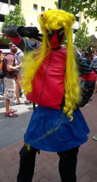 Deadpool cosplaying as Sailor Moon, San Diego Comic-Con  7/9/2015