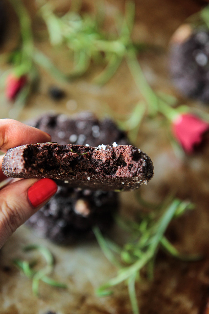 Flourless Dark Chocolate Rosemary and Sea Salt Cookies (gluten-free and Vegan) from HeatherChristo.com