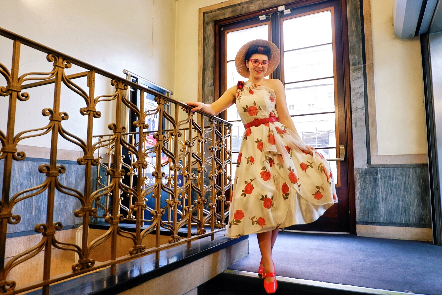Sheffield City Hall Lou Lous Vintage Fair wearing Red roses by Sew La Di Da Vintage
