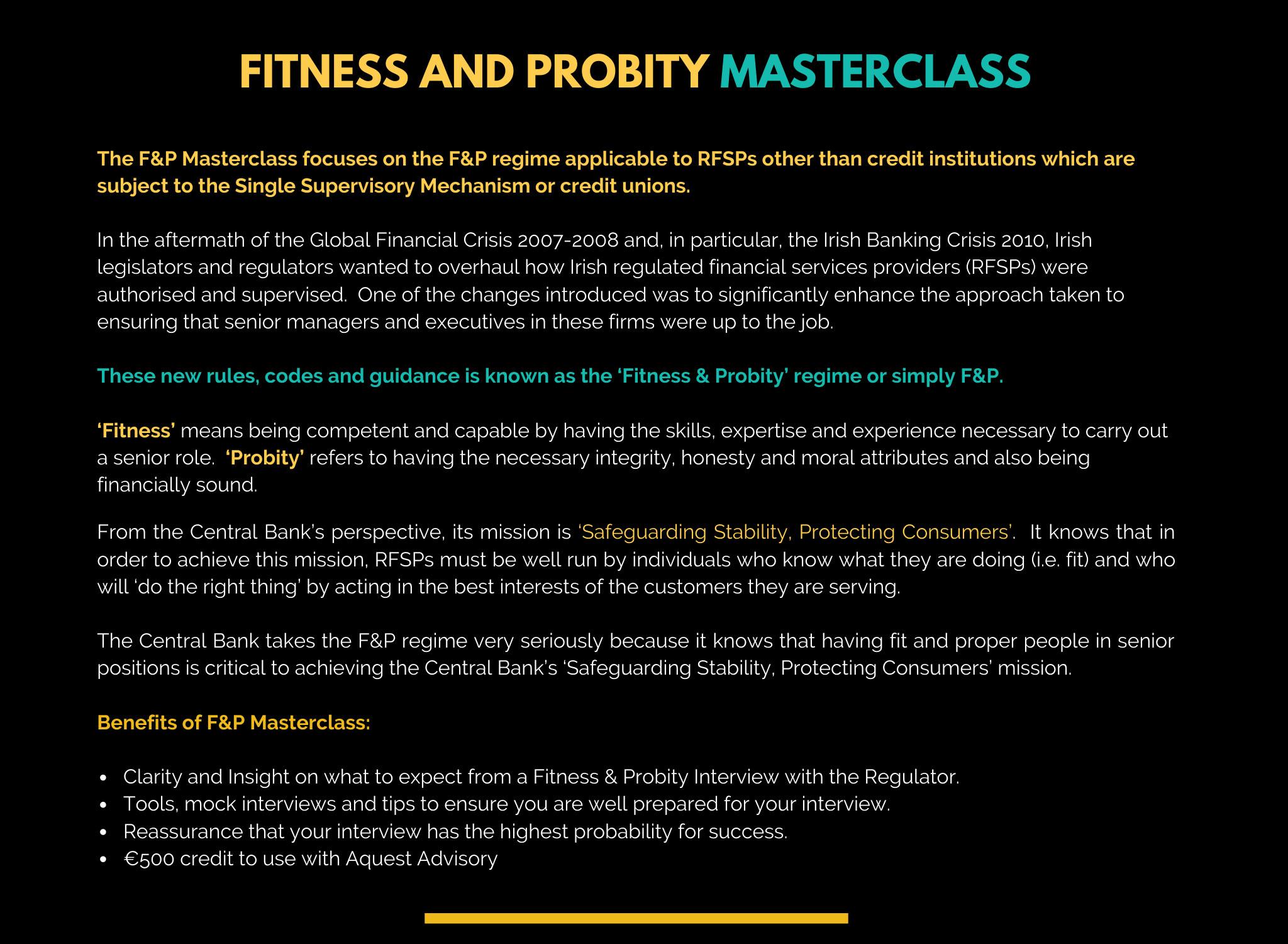 F&P Masterclass