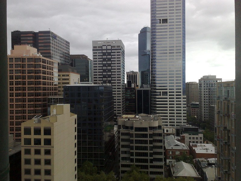 City skyline looking south from Little Lonsdale St, February 2010