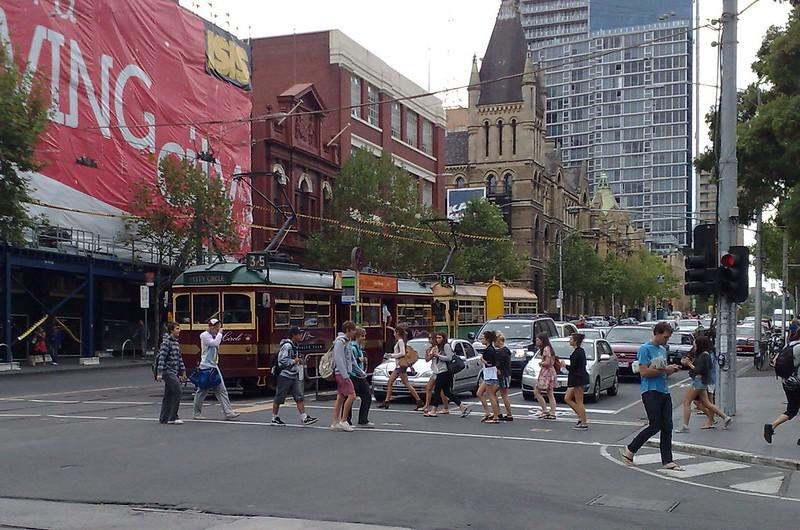 W-class trams in Latrobe Street, February 2010