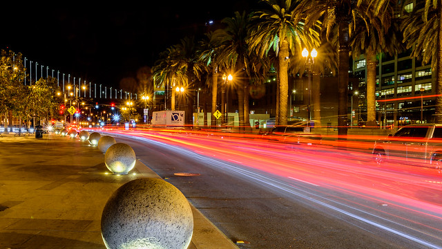 San Francisco; Embarcadero Lighttrails
