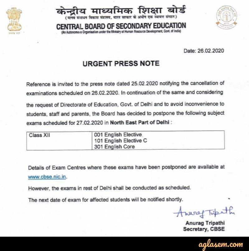 Class 12 English Exam of 27 Feb Postponed for Class 12 CBSE Board
