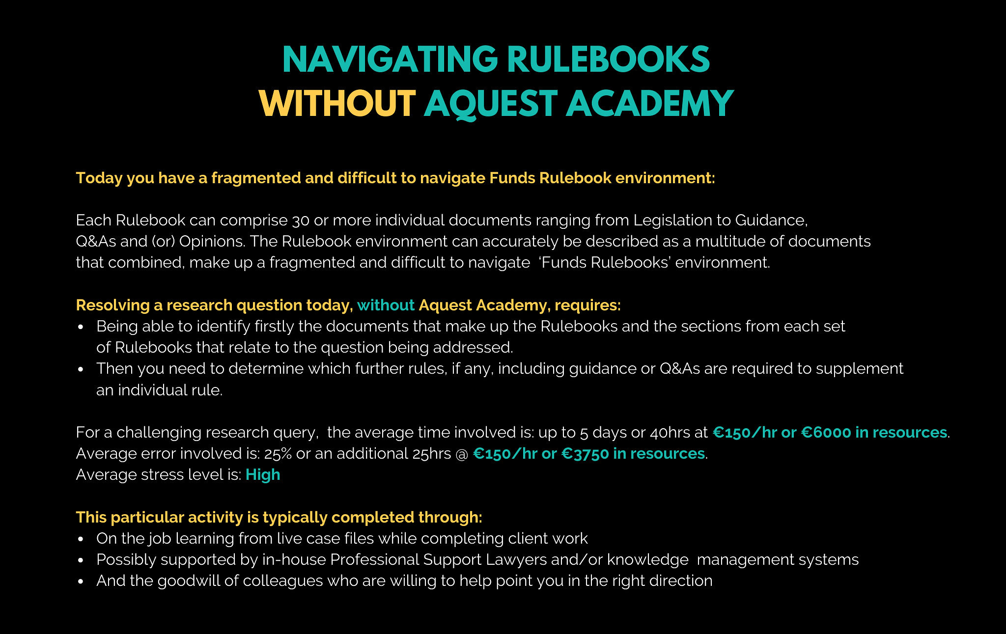 navigating rulebooks without aquest academy