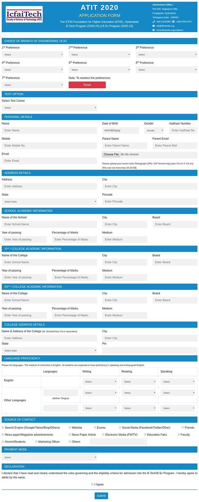 ATIT 2020 Application Form
