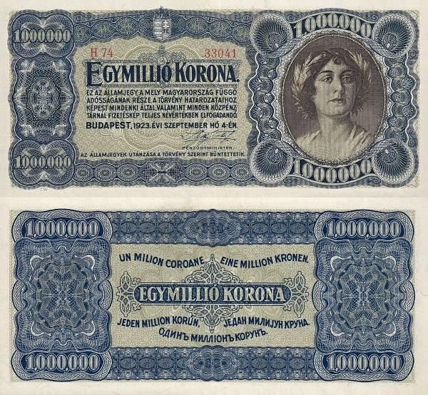 1 000 000 korona Maďarsko 1923 - REPLIKA