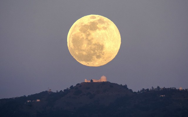 February's Full Snow Moon over Lick Observatory