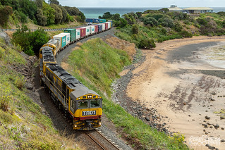 Tasrail freight train #31 out of Burnie with class leader TR01 &.TR17 along with 2010.