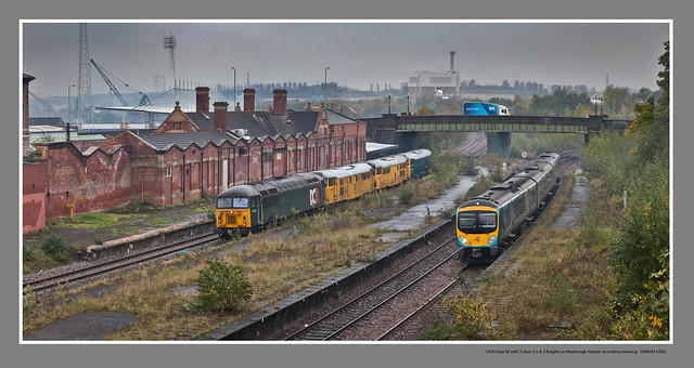 DCR Class 56 with 3 class 31s & 2 freights at Masbrough Station on a misty morning - 5049/051/055