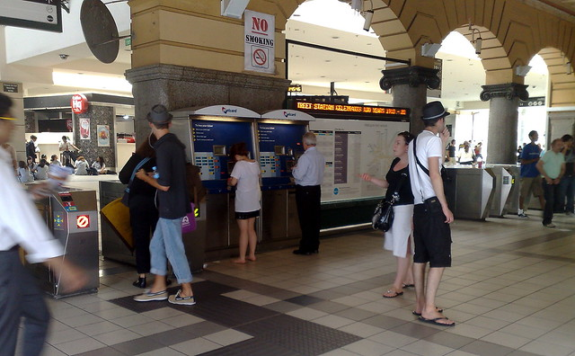 Metcard machine and Metcard/Myki gates at Flinders Street station, February 2010