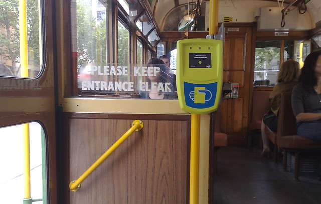 Myki equipment on W-class tram, February 2010