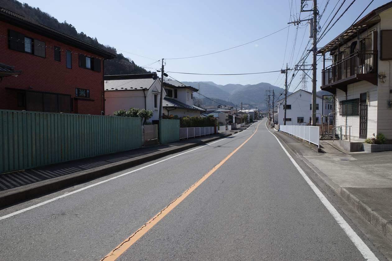 道路沿いに歩いて山北駅へ