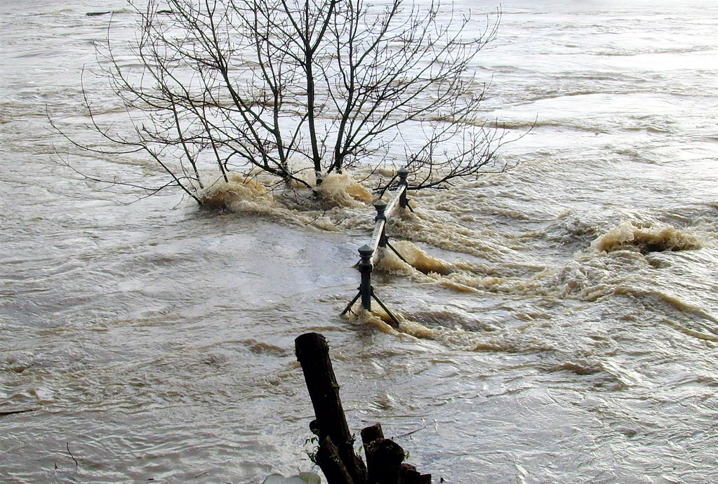 River Ribble breaking its bank after the storm