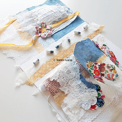 stitching paper, embroidered books