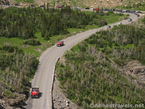 Historic cars on the Going to the Sun Road, Glacier National Park, Montana