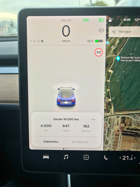 16,2 kWh / 100 km Consumo medio del Tesla Model 3 LR AWD