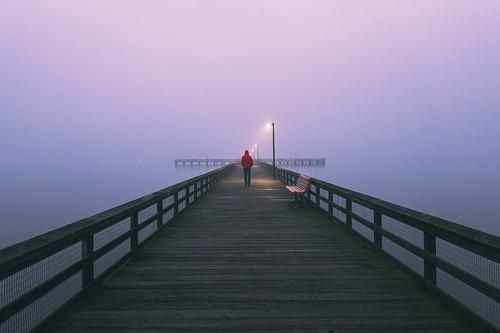 romancoke romancokepier chesapeakebay symmetry leadinglines selfportrait pier water sky fog foggy sonyimages sonyalpha maryland kentisland easternshore tamron tamron1728mm wideanglephotography wideangle