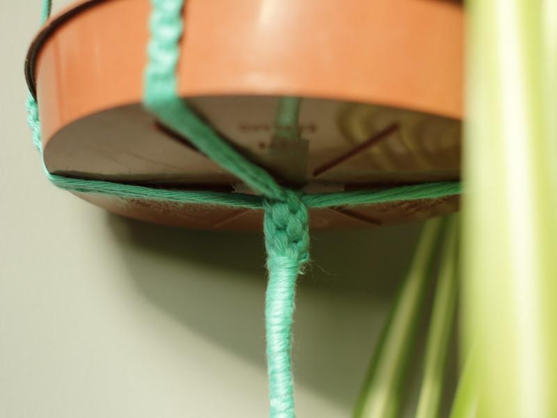 Macramé crown knot on plant hanger