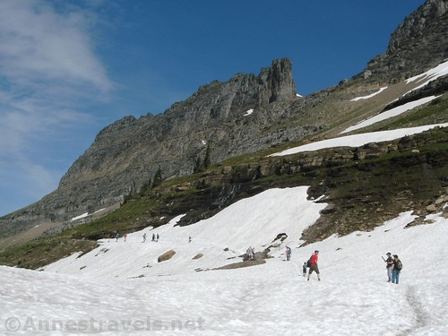 A very snowy Haystack Pass, four days after the Highline Trail opened for the season, Glacier National Park, Montana