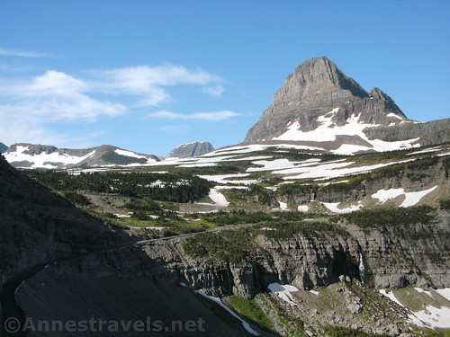 Going-to-the-Sun Road, Reynolds Mountain, and waterfalls from the Highline Trail, Glacier National Park, Montana