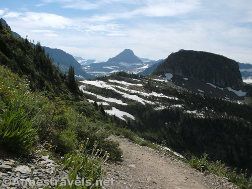 Looking back toward Haystack Butte (left) and Reynolds Mountain (center) from the Highline Trail, Glacier National Park, Montana