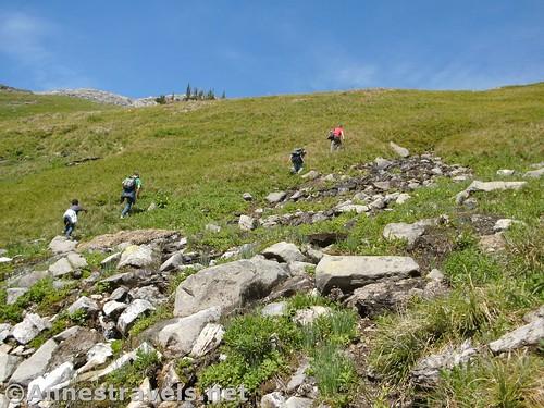 Climbing up to Haystack Pass, Glacier National Park, Montana
