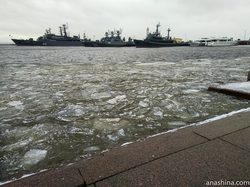 Петровская пристань, Средняя гавань и корабли Балтийского флота ВМФ России, Кронштадт