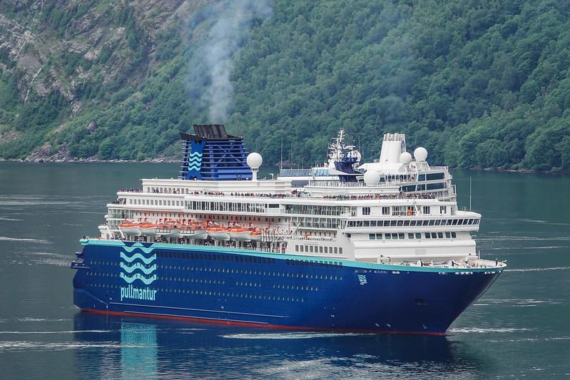 Cruise ship in Geiranger fjord