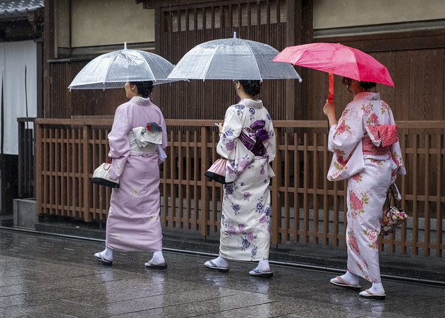 Kimonos in the Rain