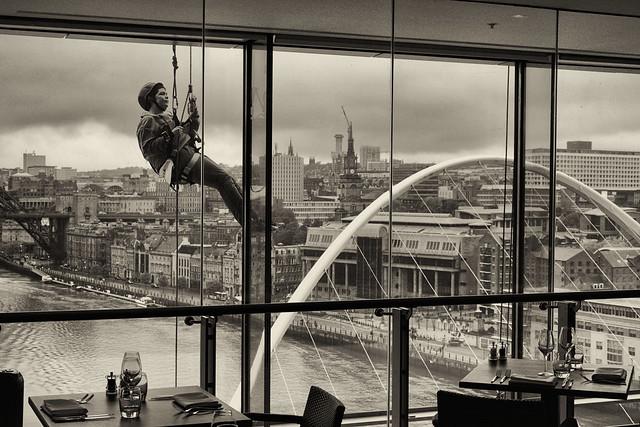 BALTIC Centre for Contemporary Art Gateshead: Artist roping down