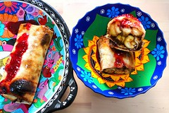 CARAMELIZED BANANA & CHOCOLATE BURRITO WITH STRAWBERRY PRESERVE