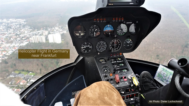 Helicopter Cockpit beside the Pilot - Flight between Frankfurt am Main and Airport Egelsbach, Germany