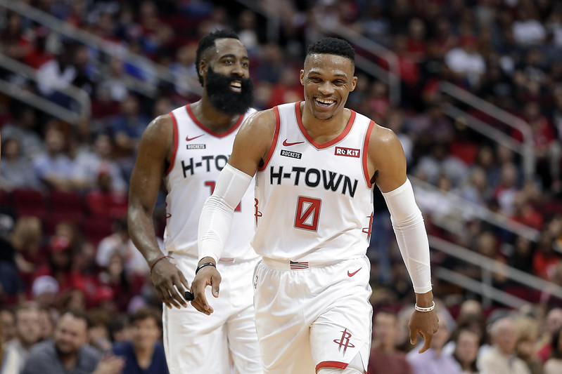 Russell Westbrook(右)與James Harden(左)。(達志影像資料照)
