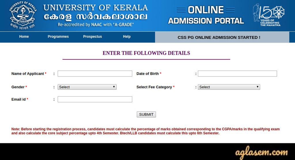 Kerala University PG Application Form 2020