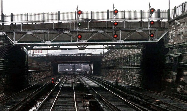 Penn Central Park Avenue 3rd rail tracks and signals (former New York Central) as seen from an operating former New Haven Railroad train in New York City, New York, 1971