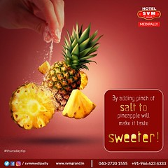 Do you know what makes pineapple more Sweeter? By adding a pinch of #salt to #pineapple will make it taste Sweeter. Try it yourself today and make your tastebuds happy.