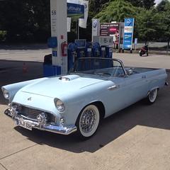 Rare vehicle, Ford Thunderbird at gas station