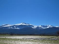Snowy Dikti and wet fields.