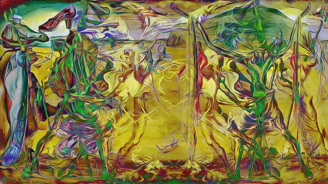 Bildschichten Dali 59c Traum vom letzten Tanz im verblühenden Raum