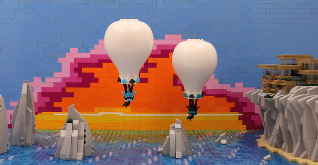 LEGO hot air balloon sunset